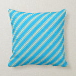 [ Thumbnail: Deep Sky Blue and Tan Lined Pattern Throw Pillow ]