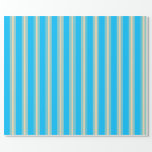 [ Thumbnail: Deep Sky Blue and Tan Lined Pattern Wrapping Paper ]