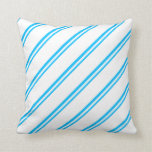 [ Thumbnail: Deep Sky Blue and White Colored Pattern Pillow ]