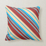 [ Thumbnail: Deep Sky Blue, Beige, and Brown Pattern Pillow ]