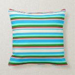 [ Thumbnail: Deep Sky Blue, Beige, Crimson, Green & Aquamarine Throw Pillow ]