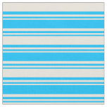 [ Thumbnail: Deep Sky Blue & Beige Lined/Striped Pattern Fabric ]