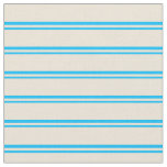 [ Thumbnail: Deep Sky Blue & Bisque Colored Lines Fabric ]