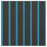 [ Thumbnail: Deep Sky Blue & Black Colored Pattern Fabric ]