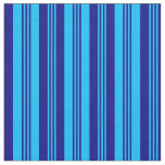 [ Thumbnail: Deep Sky Blue & Blue Colored Lines Fabric ]