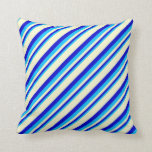 [ Thumbnail: Deep Sky Blue, Blue & Light Yellow Colored Lines Throw Pillow ]