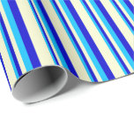 [ Thumbnail: Deep Sky Blue, Blue & Light Yellow Colored Lines Wrapping Paper ]
