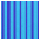[ Thumbnail: Deep Sky Blue & Blue Pattern Fabric ]