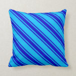 [ Thumbnail: Deep Sky Blue & Blue Pattern Throw Pillow ]