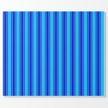 [ Thumbnail: Deep Sky Blue & Blue Pattern Wrapping Paper ]
