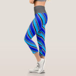 [ Thumbnail: Deep Sky Blue, Blue, Pink, and Black Colored Leggings ]