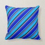 [ Thumbnail: Deep Sky Blue, Blue, Pink, and Black Colored Throw Pillow ]