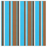 [ Thumbnail: Deep Sky Blue, Brown, Black, and Beige Pattern Fabric ]