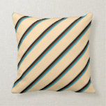 [ Thumbnail: Deep Sky Blue, Brown, Black & Tan Lines Pattern Throw Pillow ]