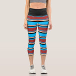 [ Thumbnail: Deep Sky Blue, Brown, Light Yellow & Black Colored Leggings ]