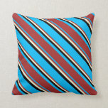 [ Thumbnail: Deep Sky Blue, Brown, Light Yellow & Black Colored Throw Pillow ]