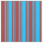 [ Thumbnail: Deep Sky Blue & Brown Stripes/Lines Pattern Fabric ]