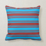 [ Thumbnail: Deep Sky Blue & Brown Stripes/Lines Pattern Pillow ]