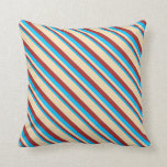 [ Thumbnail: Deep Sky Blue, Brown & Tan Lined Pattern Pillow ]