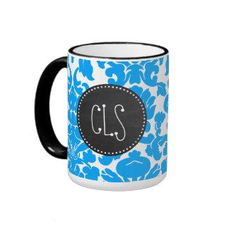 Deep Sky Blue Damask; Retro Chalkboard Ringer Coffee Mug