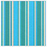 [ Thumbnail: Deep Sky Blue, Dark Cyan, and Tan Stripes Fabric ]