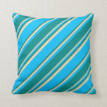 [ Thumbnail: Deep Sky Blue, Dark Cyan, and Tan Stripes Pillow ]