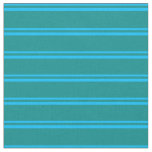[ Thumbnail: Deep Sky Blue & Dark Cyan Lines/Stripes Pattern Fabric ]