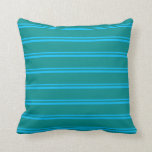 [ Thumbnail: Deep Sky Blue & Dark Cyan Lines/Stripes Pattern Throw Pillow ]