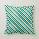 [ Thumbnail: Deep Sky Blue, Dark Green, and Beige Pattern Throw Pillow ]