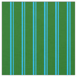 [ Thumbnail: Deep Sky Blue & Dark Green Lines Pattern Fabric ]