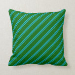 [ Thumbnail: Deep Sky Blue & Dark Green Lines Pattern Pillow ]
