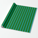 [ Thumbnail: Deep Sky Blue & Dark Green Lines Pattern Wrapping Paper ]