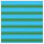 [ Thumbnail: Deep Sky Blue & Dark Green Stripes Pattern Fabric ]