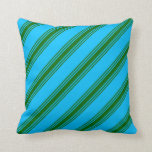 [ Thumbnail: Deep Sky Blue & Dark Green Stripes Pattern Pillow ]