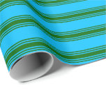 [ Thumbnail: Deep Sky Blue & Dark Green Stripes Pattern Wrapping Paper ]