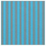 [ Thumbnail: Deep Sky Blue & Dim Gray Colored Stripes Fabric ]