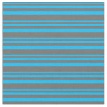 [ Thumbnail: Deep Sky Blue & Dim Grey Stripes Fabric ]