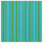 [ Thumbnail: Deep Sky Blue & Forest Green Colored Pattern Fabric ]