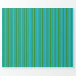 [ Thumbnail: Deep Sky Blue & Forest Green Colored Pattern Wrapping Paper ]