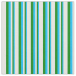[ Thumbnail: Deep Sky Blue, Green, and White Colored Pattern Fabric ]