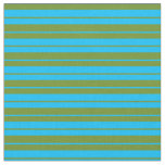 [ Thumbnail: Deep Sky Blue & Green Colored Pattern Fabric ]