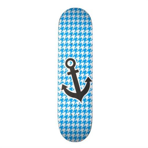 Deep Sky Blue Houndstooth; Anchor Skate Deck