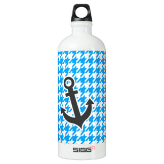 Deep Sky Blue Houndstooth; Anchor Water Bottle