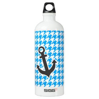 Deep Sky Blue Houndstooth; Anchor Water Bottle
