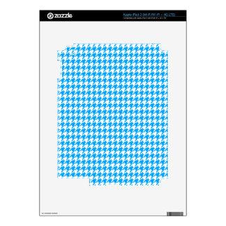 Deep Sky Blue Houndstooth iPad 3 Skin
