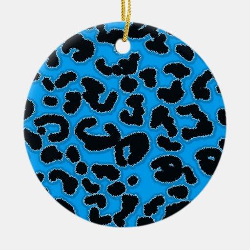 Deep Sky Blue Leopard Animal Print Christmas Tree Ornaments