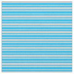 [ Thumbnail: Deep Sky Blue & Light Gray Lines Pattern Fabric ]