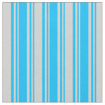 [ Thumbnail: Deep Sky Blue & Light Grey Striped/Lined Pattern Fabric ]