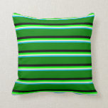 [ Thumbnail: Deep Sky Blue, Light Yellow, Lime, Black & Green Throw Pillow ]