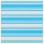 [ Thumbnail: Deep Sky Blue & Light Yellow Lines Fabric ]